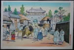 thumbs hiyoshi mamoru town scene in korea Woodblock Prints