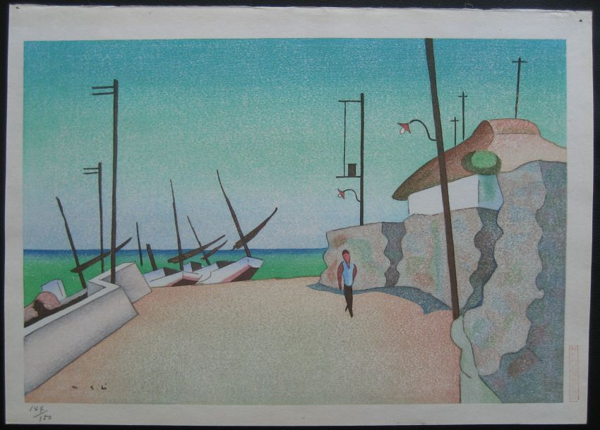 noriyuki ushijima izu fishing village Noriyuki USHIJIMA Woodblock Prints
